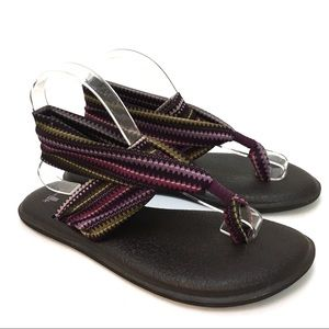 Sanuk yoga Sling Flip Flop Women's Sandal EUC